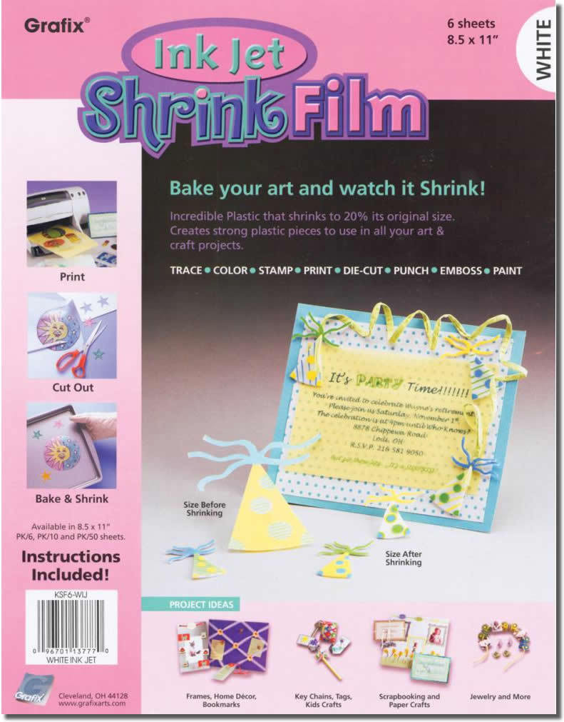 image about Printable Shrink Film known as Data in excess of Grafix Shrink Motion picture, Printable, White Inkjet, 6 Sheets inside of A single Packet